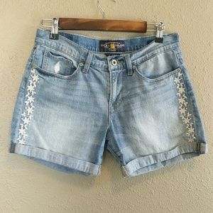 Lucky Brand The Roll Up Distressed Denim Shorts